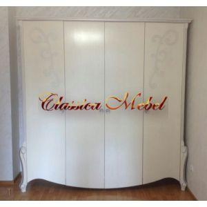 Шкаф Луиза 3 (белая эмаль+сп, с декором)