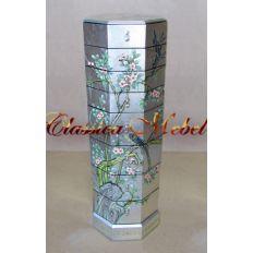Тумба TR-95-0011 (серебро розовые цветы)
