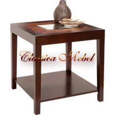 Столик с деревянной полкой h61 L61 w55см