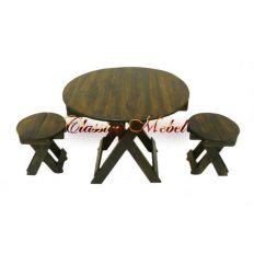 Набор: складной круглый стол+ 4 табурета