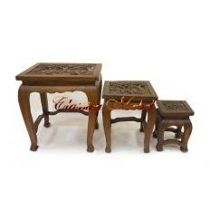 """Набор из 3-х столиков с резной столешницей """"Слоны"""""""