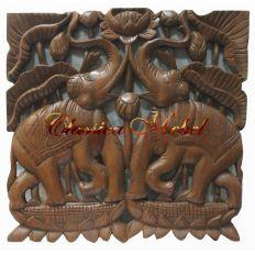Панно Два слона в лотосе h45 L45см
