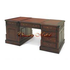 Стол письменный 12262 (коричневая кожа)